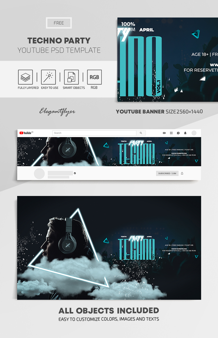 Techno Party – Free Youtube Channel banner PSD Template
