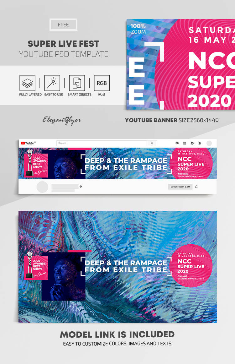 Super Live Fest – Free Youtube Channel banner PSD Template