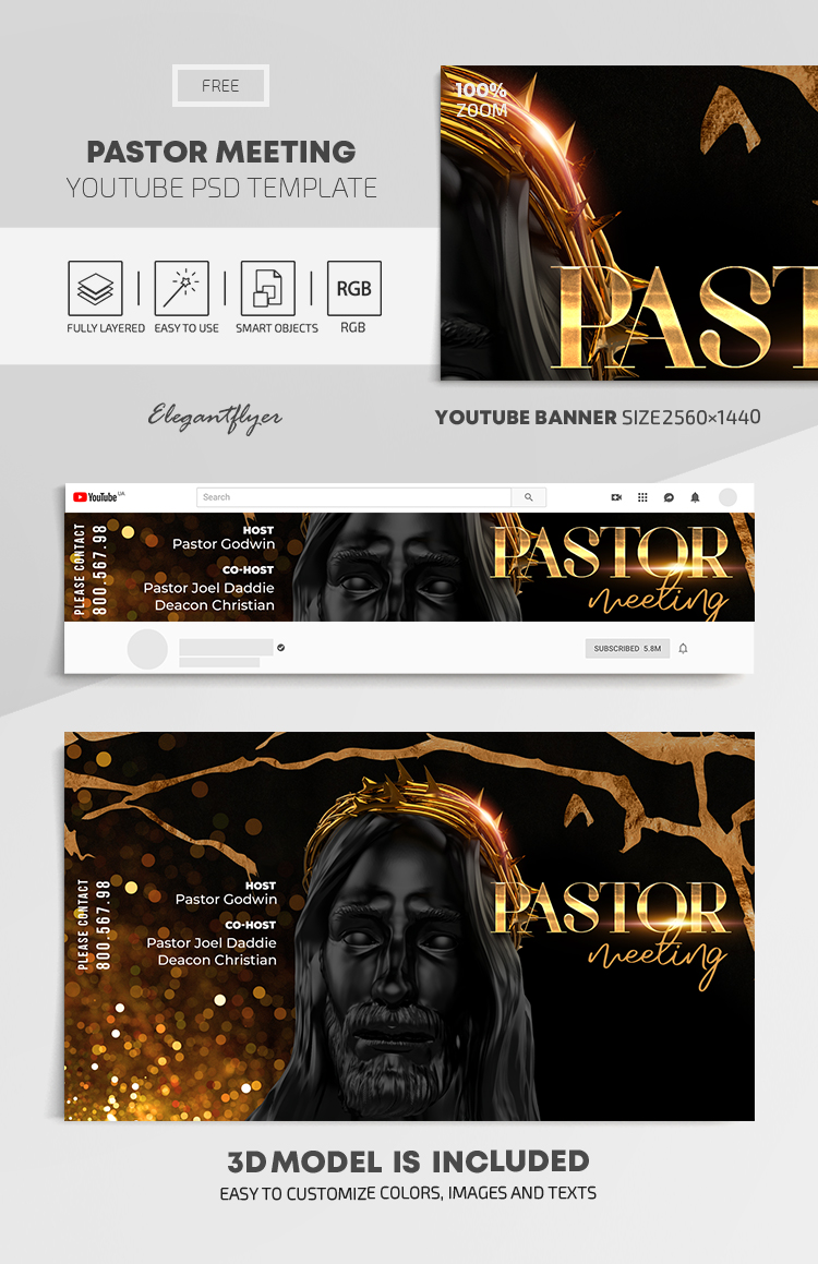 Pastor Meeting – Free Youtube Channel banner PSD Template
