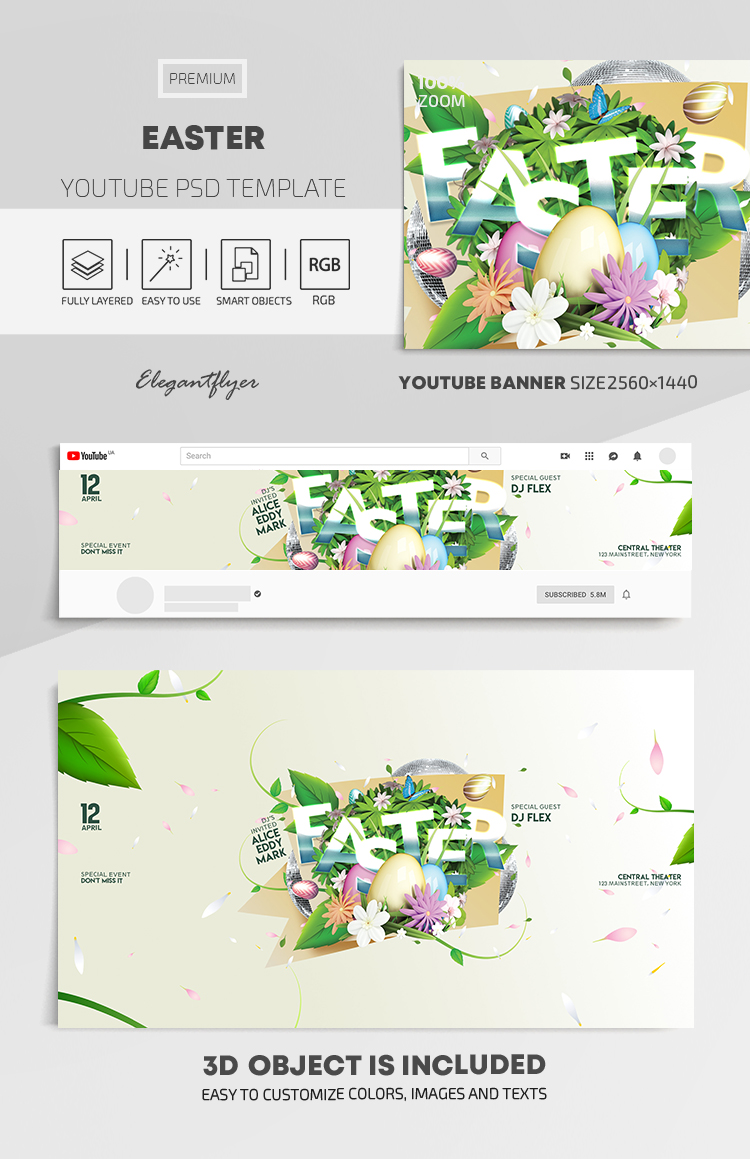 Easter – Youtube Channel banner PSD Template