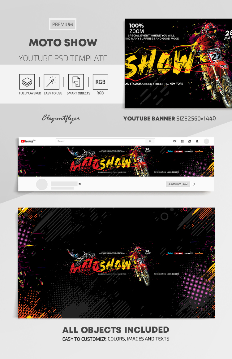 Moto Show – Youtube Channel banner PSD Template