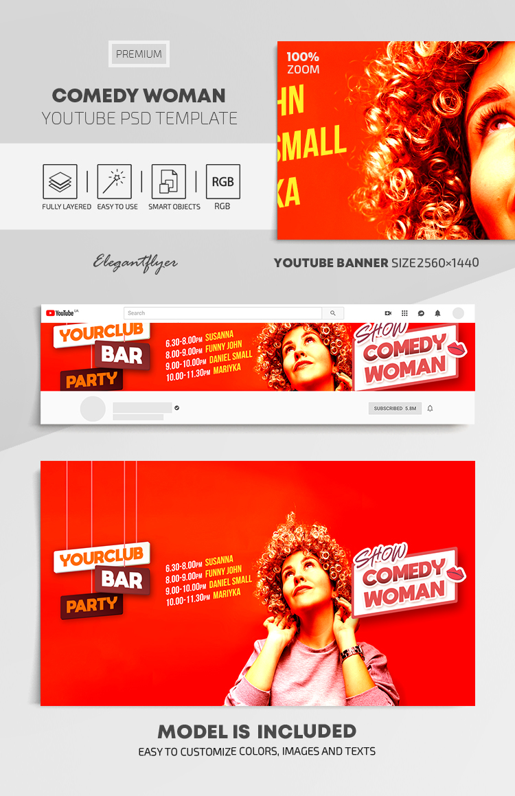 Comedy Woman – Youtube Channel banner PSD Template