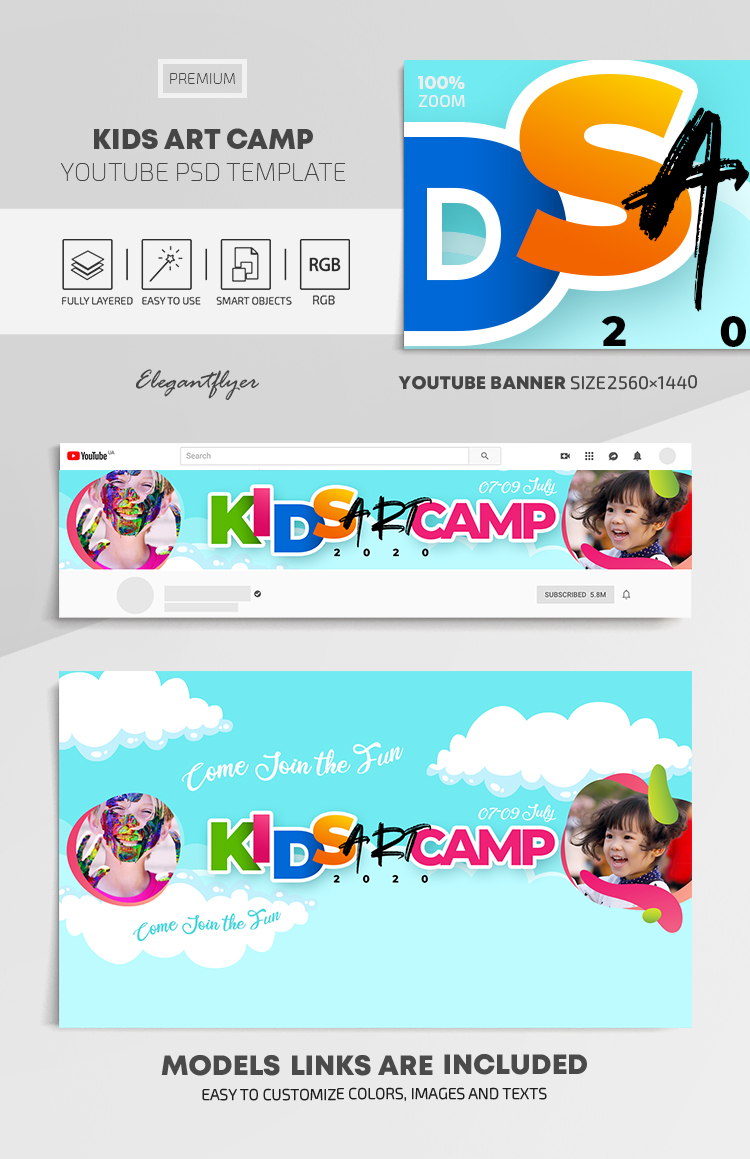 Kids Art Camp – Youtube Channel banner PSD Template