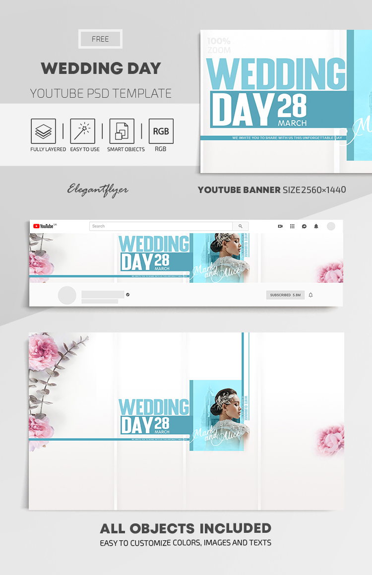 Wedding Day – Free Youtube Channel banner PSD Template