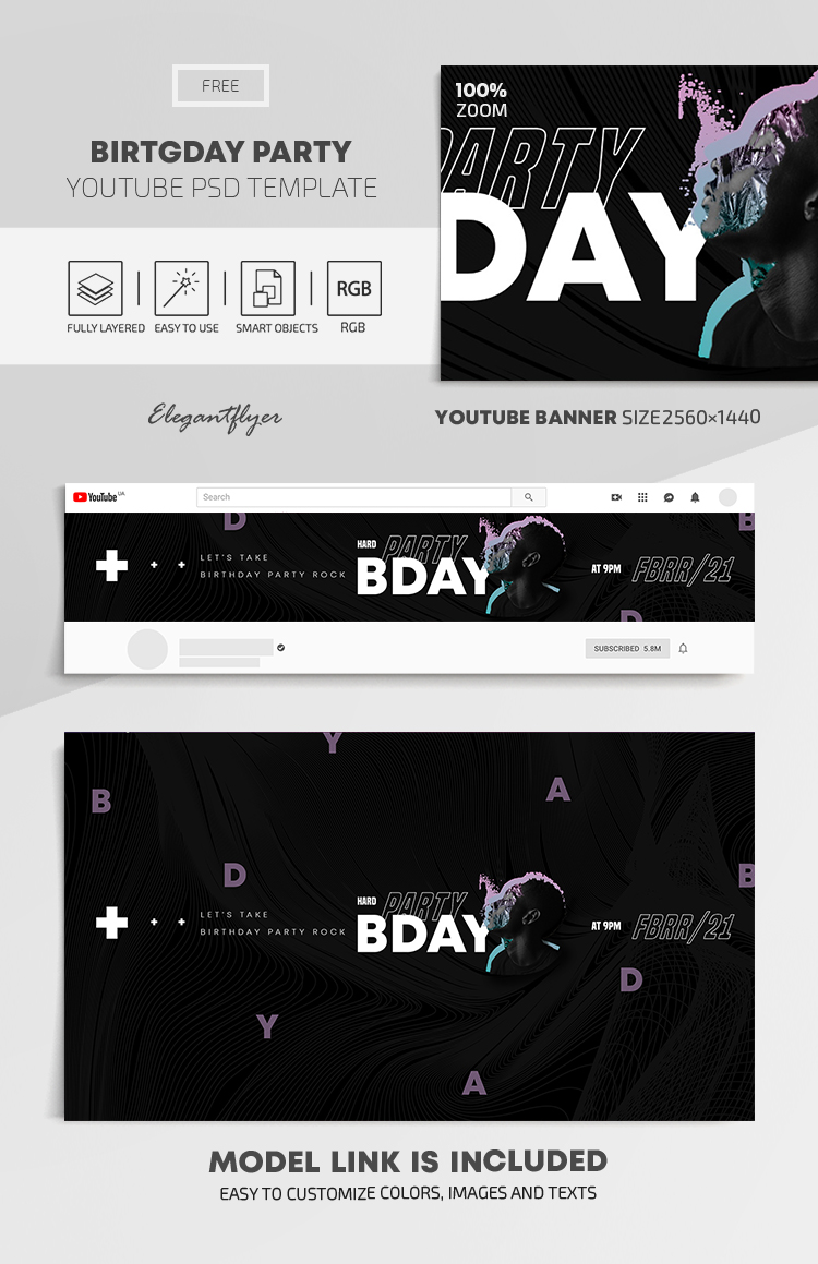 Birthday Party – Free Youtube Channel banner PSD Template