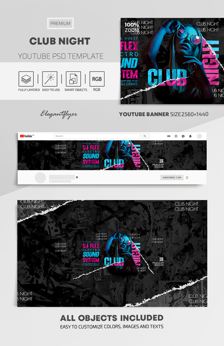 Club Night – Youtube Channel banner PSD Template