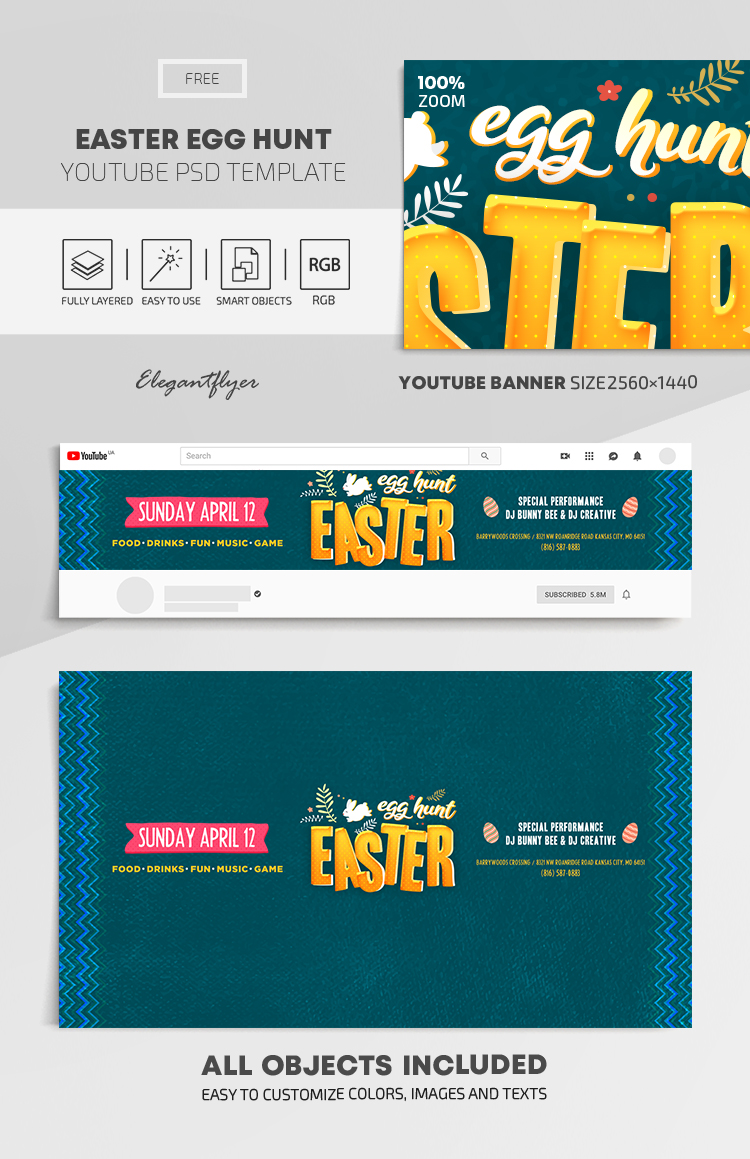 Easter Egg Hunt – Free Youtube Channel banner PSD Template