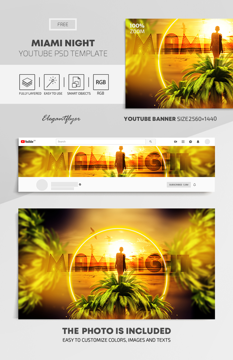 Miami Night – Free Youtube Channel banner PSD Template