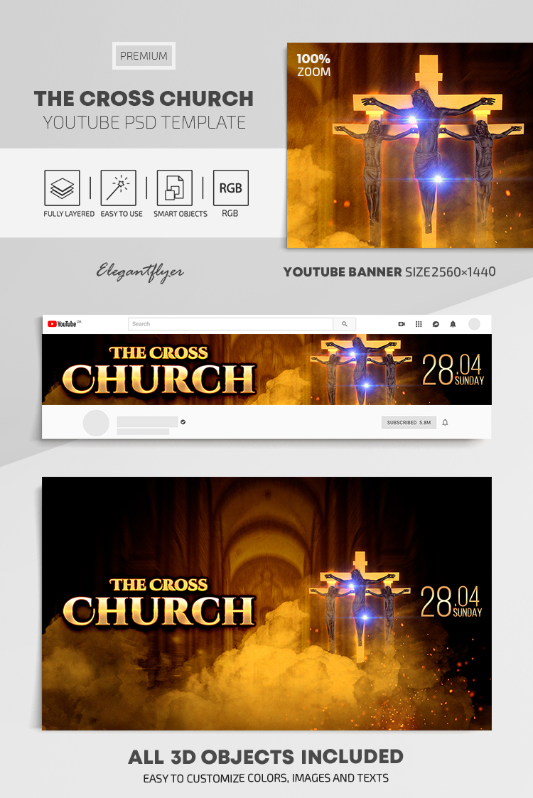 The Cross Church – Youtube Channel banner PSD Template