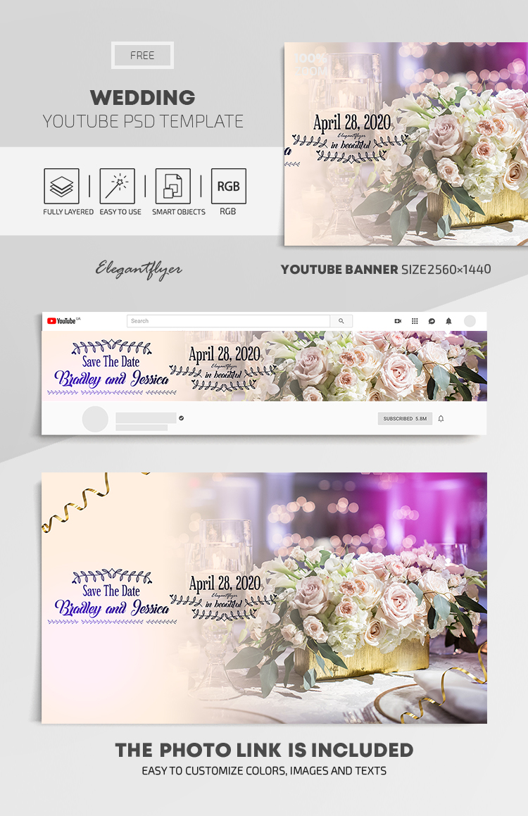 Wedding – Free Youtube Channel banner PSD Template