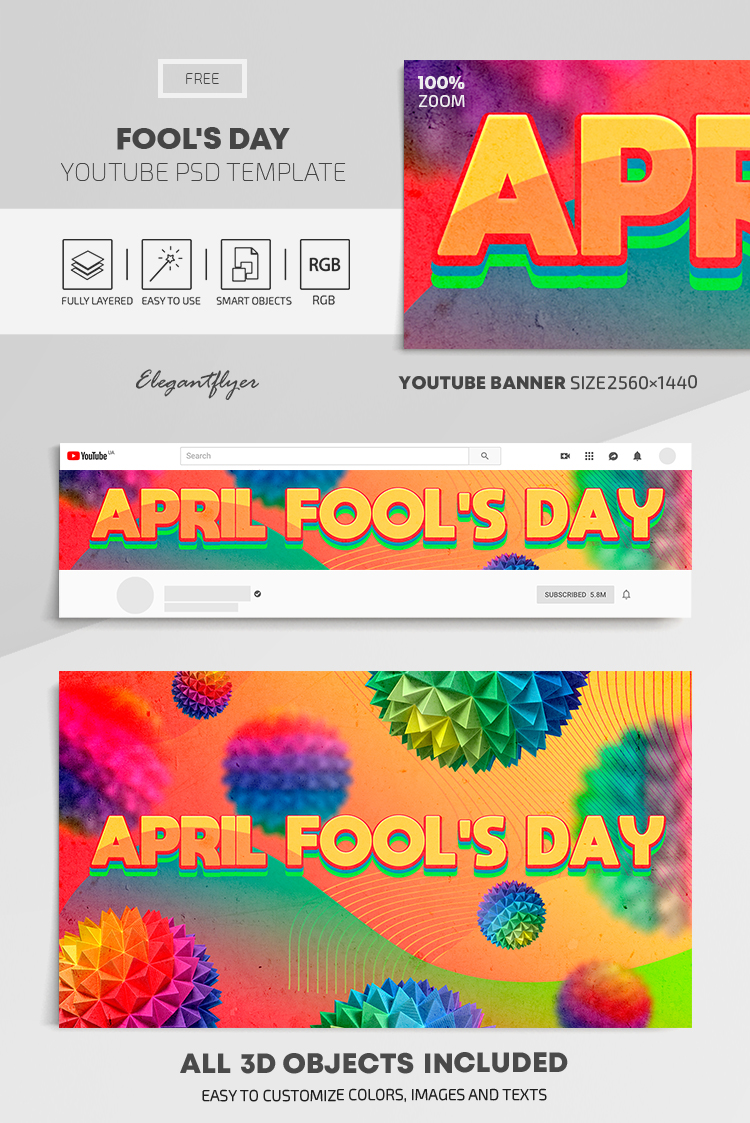 Fool's Day – Free Youtube Channel banner PSD Template