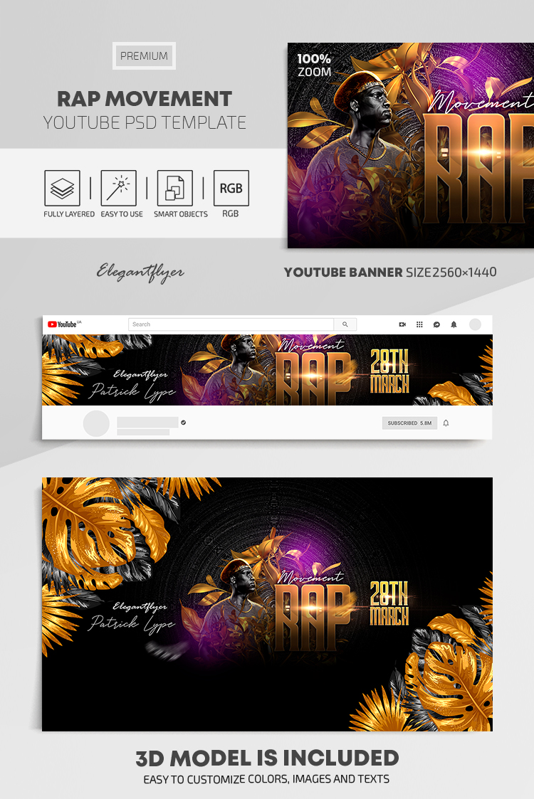 Rap Movement – Youtube Channel banner PSD Template