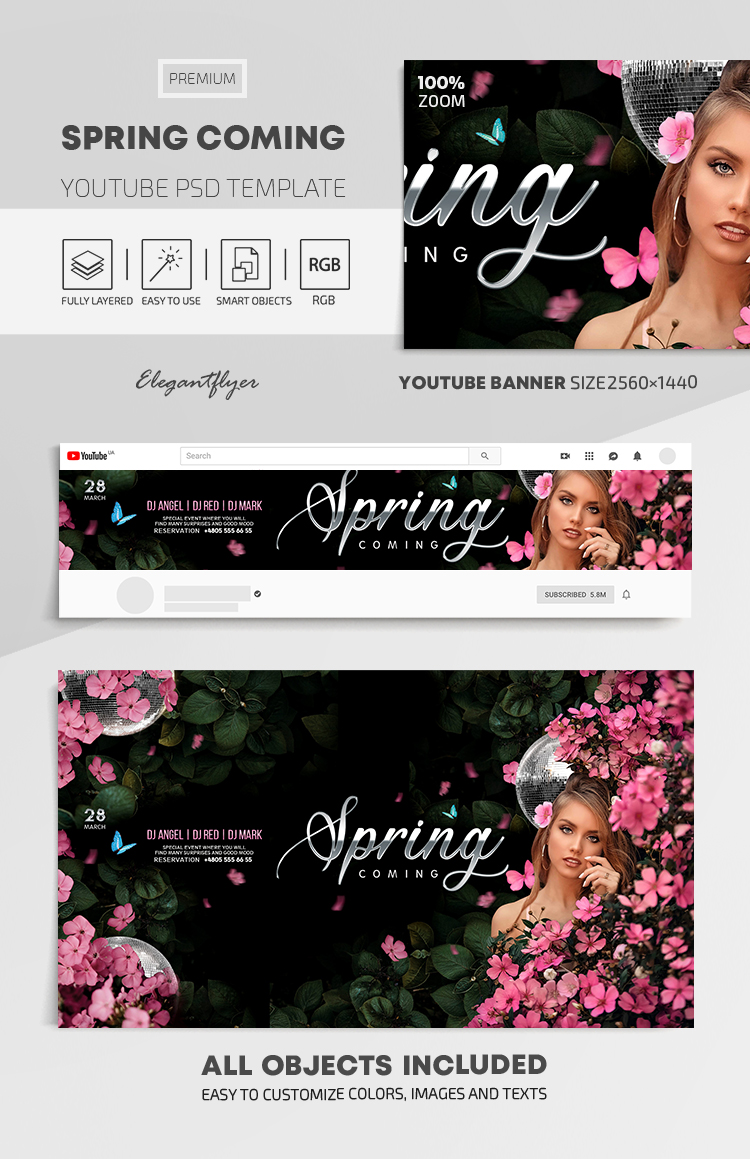 Spring Coming – Youtube Channel banner PSD Template