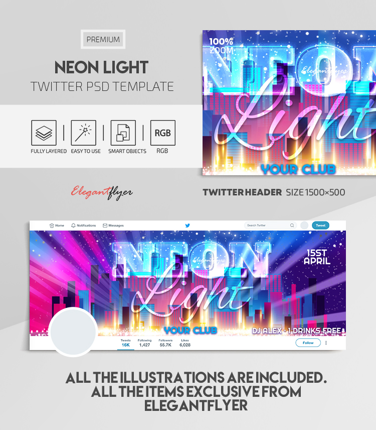Neon Light – Twitter Header PSD Template