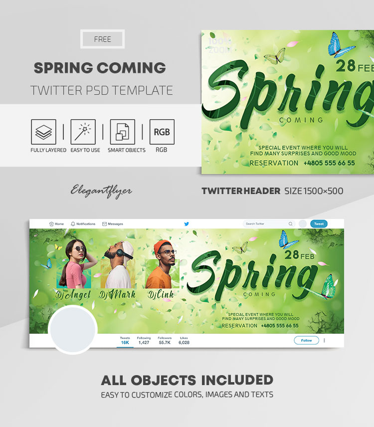Spring Coming – Free Twitter Header PSD Template