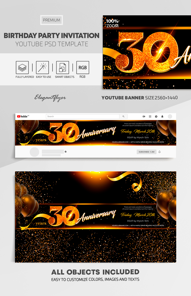 Birthday Party Invitation – Youtube Channel banner PSD Template