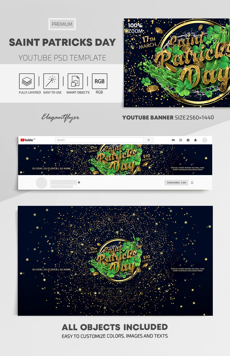 Saint Patricks Day – Youtube Channel banner PSD Template