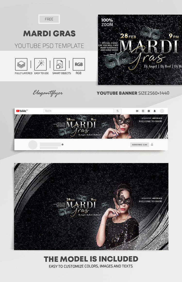 Mardi Gras – Youtube Channel banner PSD Template