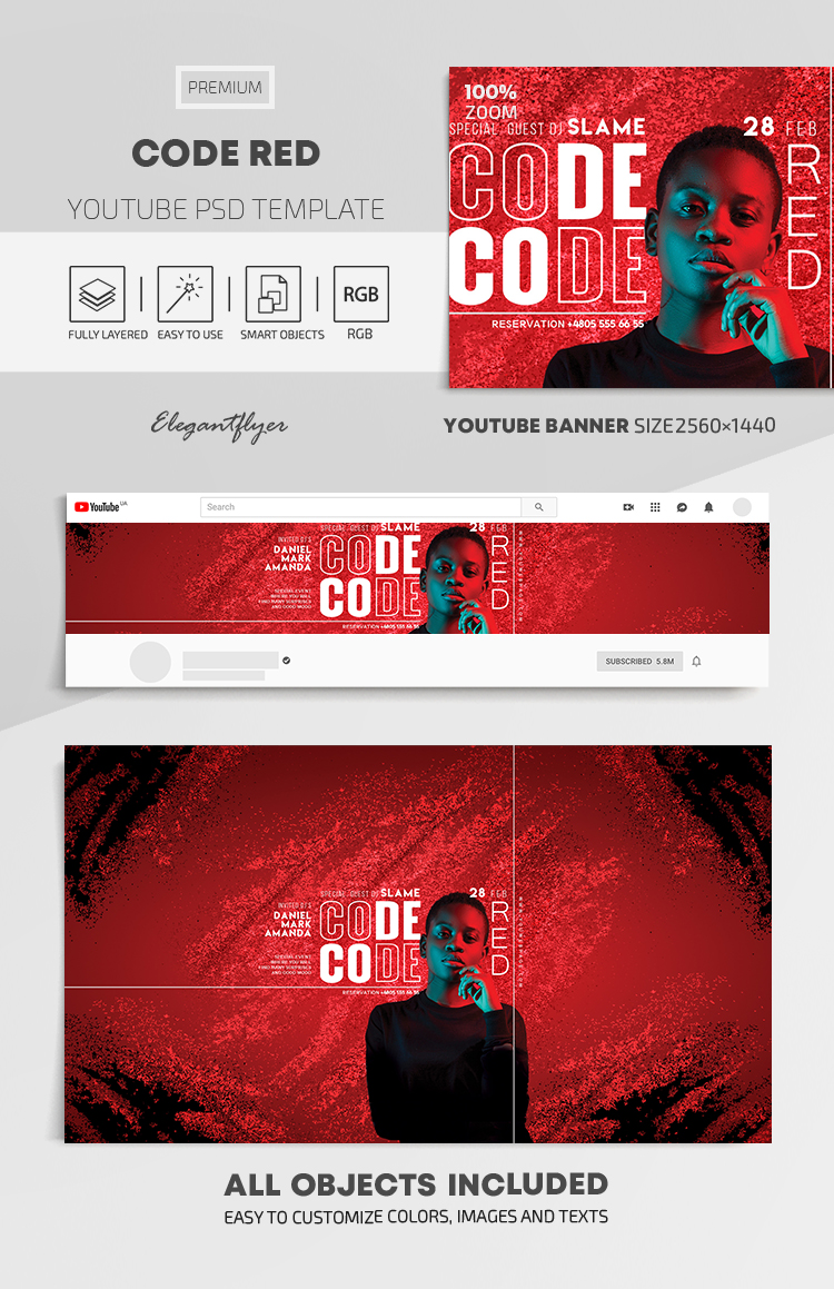 Code Red – Youtube Channel banner PSD Template