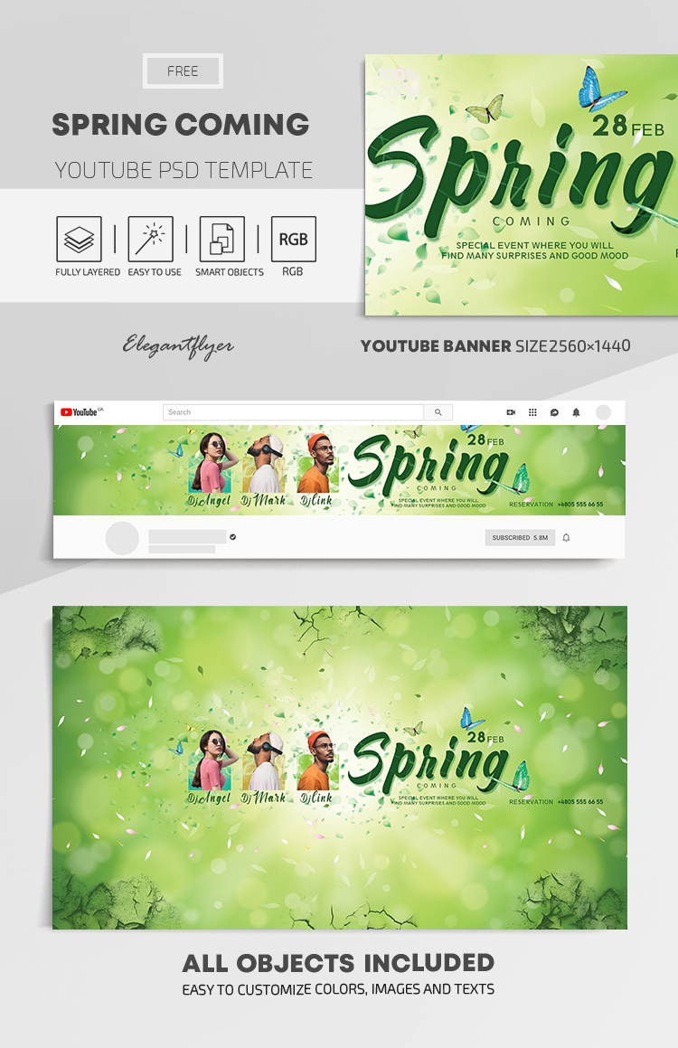 Spring Coming – Free Youtube Channel banner PSD Template