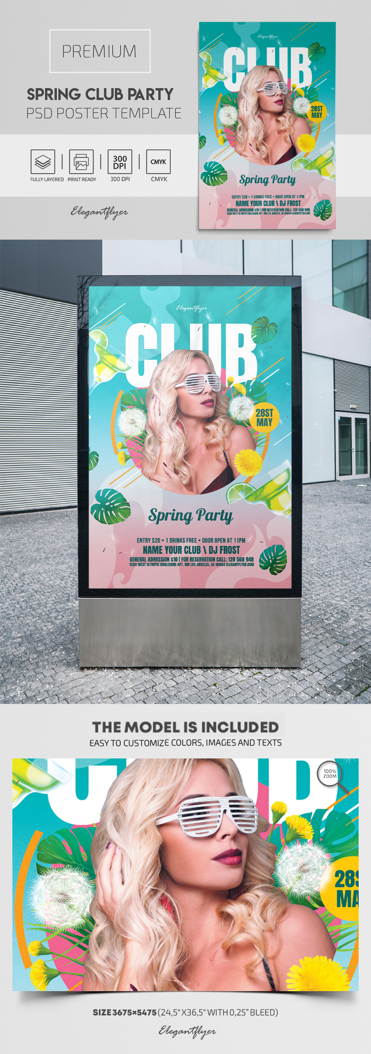 Spring Club Party – Premium PSD Poster Template