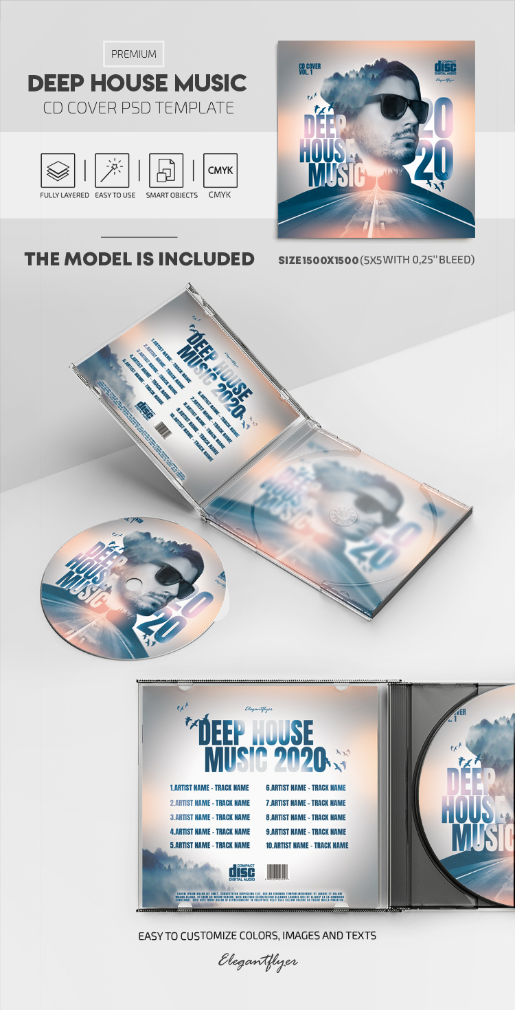 Deep House Music – Premium CD Cover PSD Template