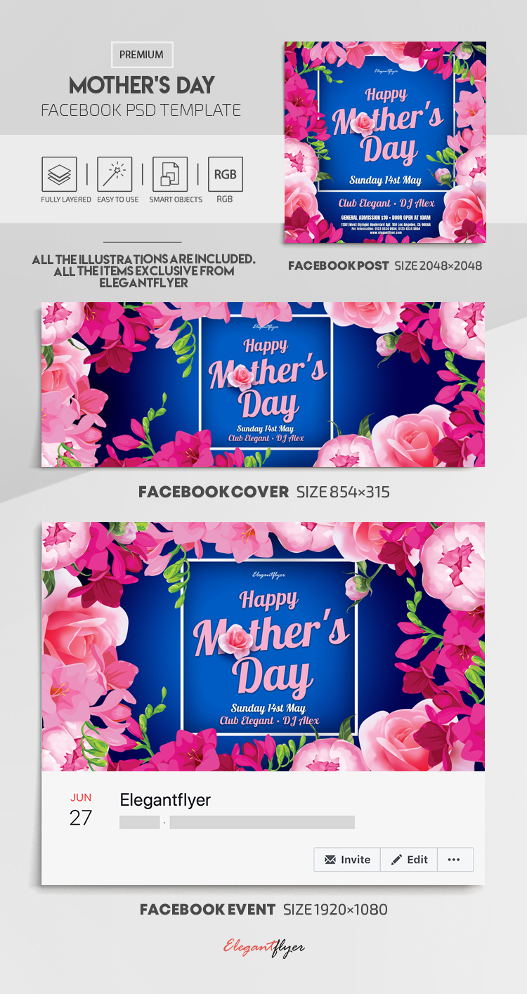 Mother's Day – Facebook Cover Template in PSD + Post + Event cover