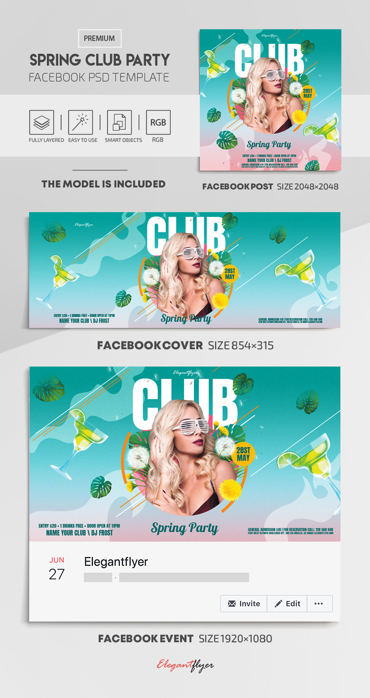 Spring Club Party – Facebook Cover Template in PSD + Post + Event cover