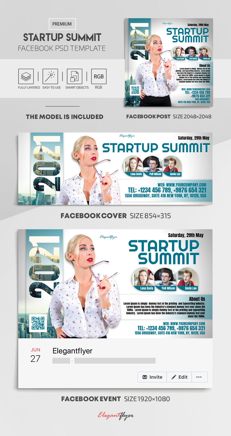 Startup Summit – Facebook Cover Template in PSD + Post + Event cover