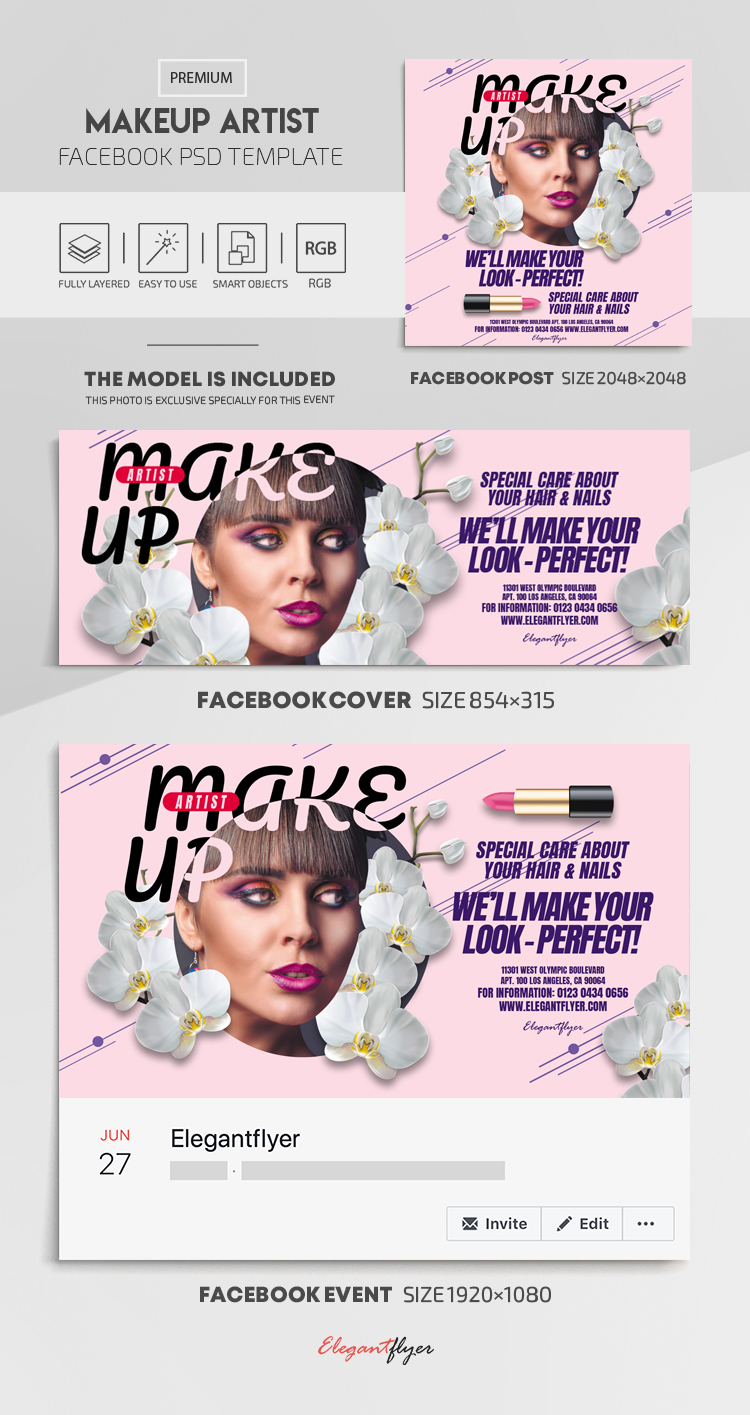 Makeup Artist – Facebook Cover Template in PSD + Post + Event cover
