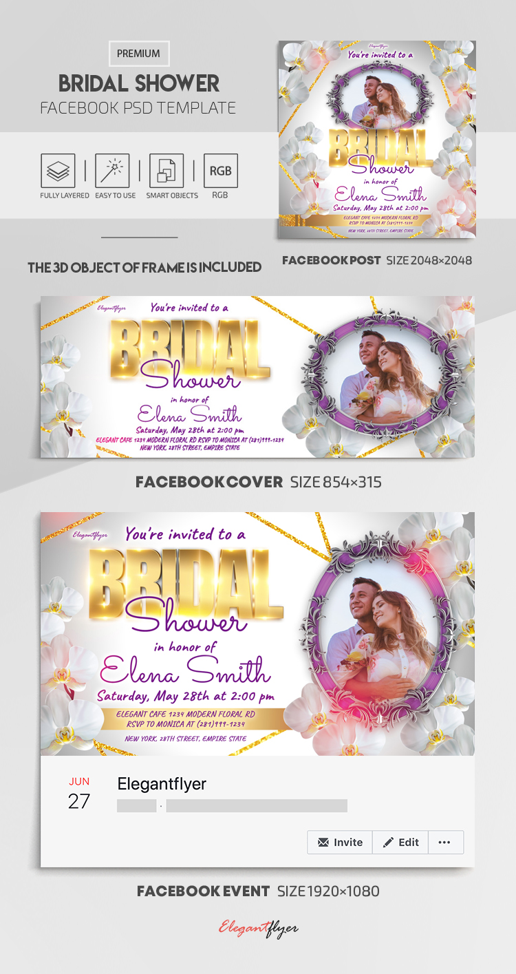 Bridal Shower – Facebook Cover Template in PSD + Post + Event cover