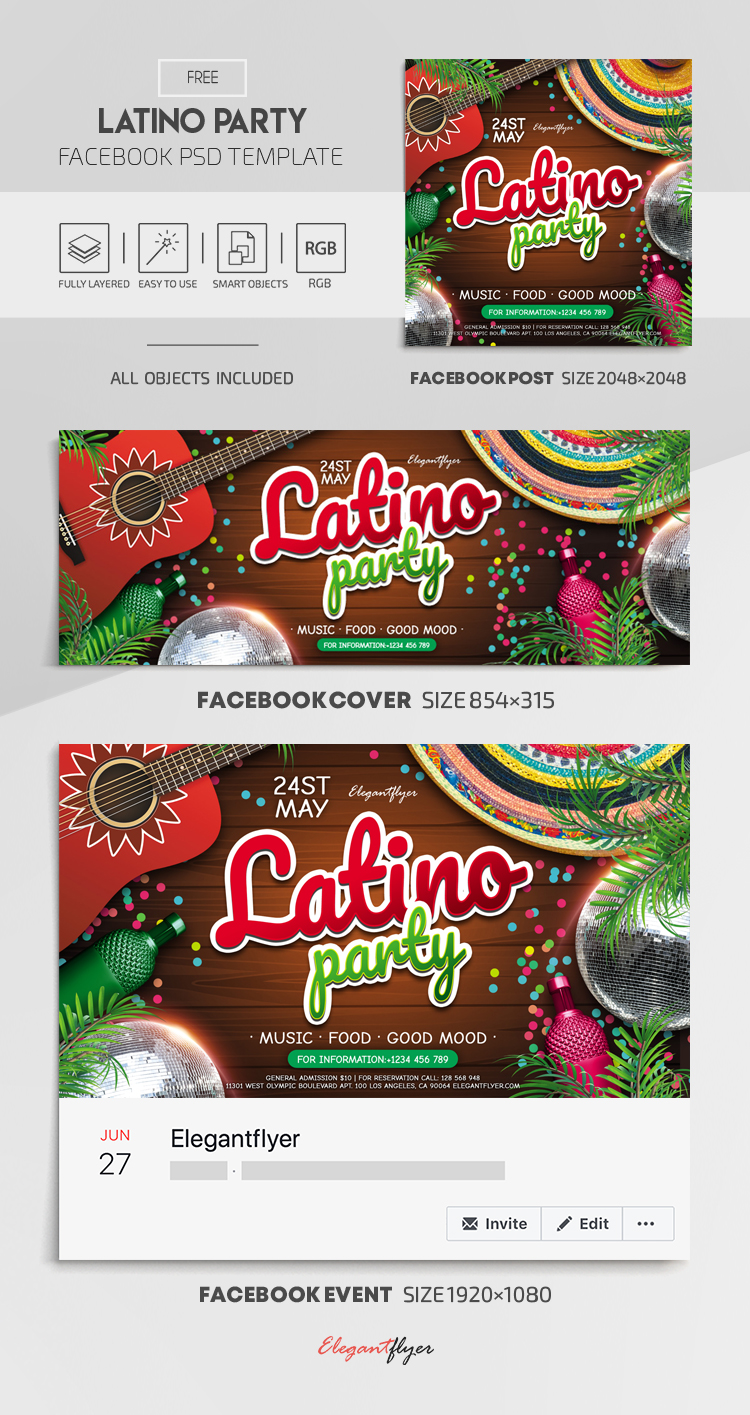Latino Party – Free Facebook Cover Template in PSD + Post + Event cover