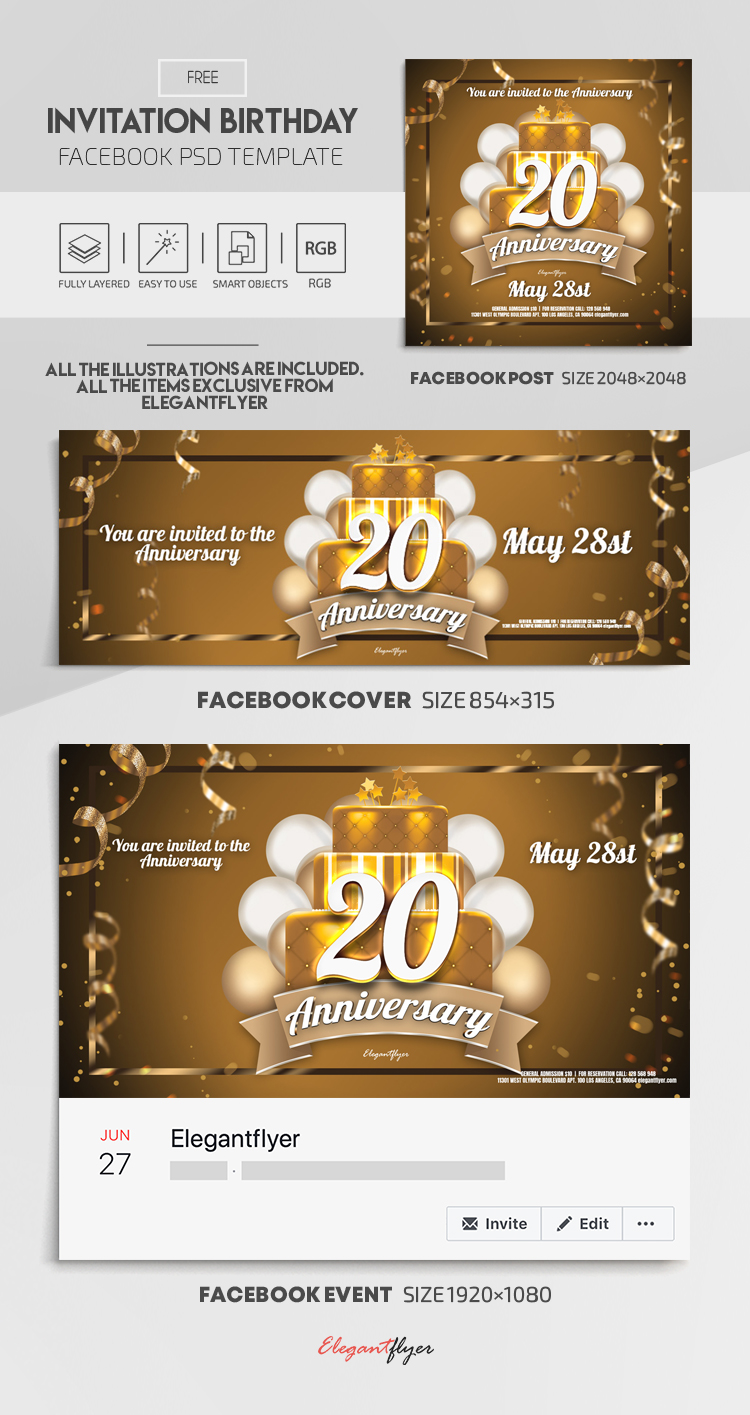 Invitation Birthday – Free Facebook Cover Template in PSD + Post + Event cover