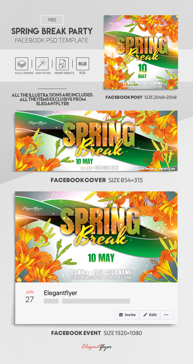 Spring Break Party – Free Facebook Cover Template in PSD + Post + Event cover