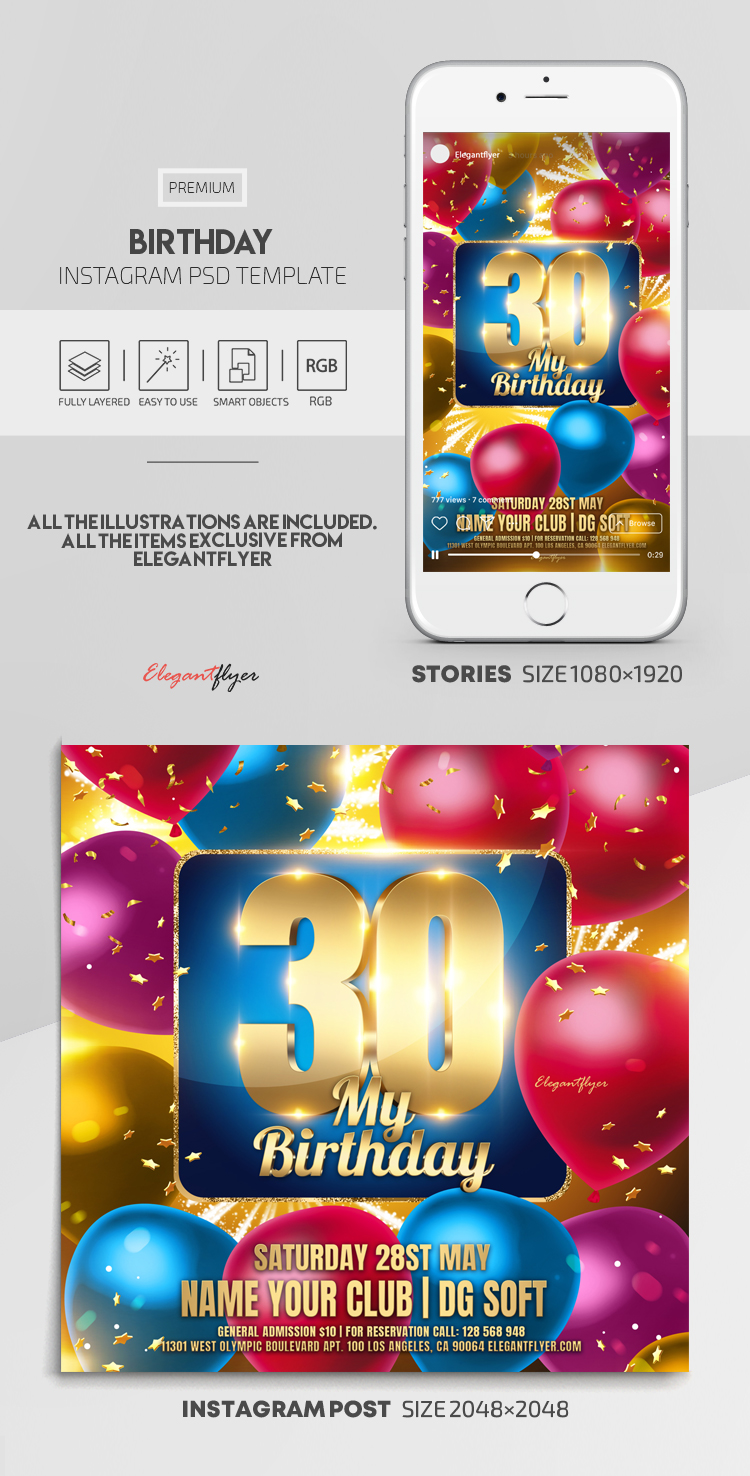 Birthday – Instagram Stories Template in PSD + Post Templates
