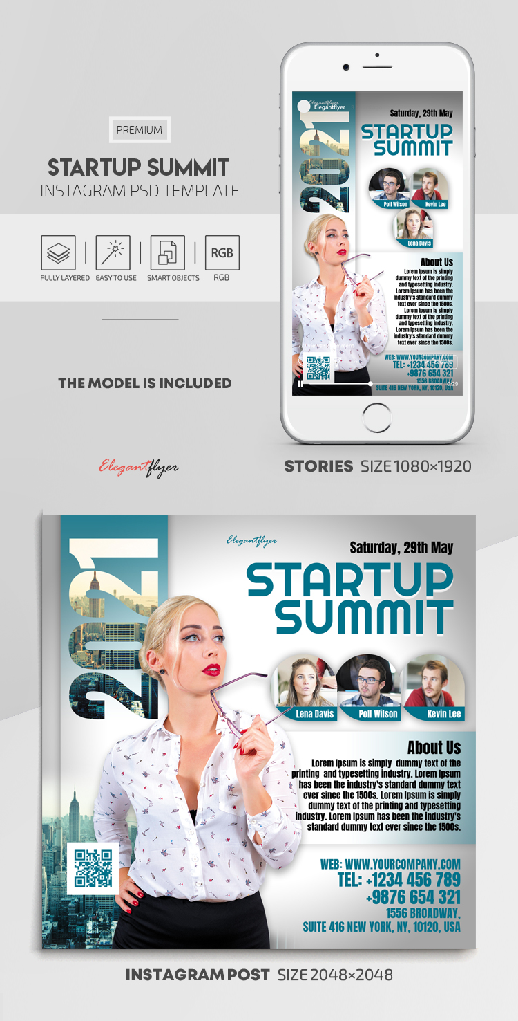 Startup Summit – Instagram Stories Template in PSD + Post Templates