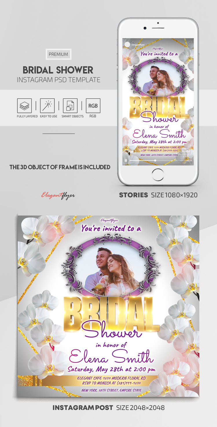 Bridal Shower – Instagram Stories Template in PSD + Post Templates