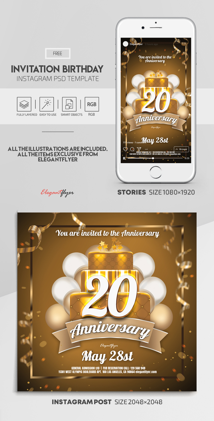 Invitation Birthday – Free Instagram Stories Template in PSD + Post Templates