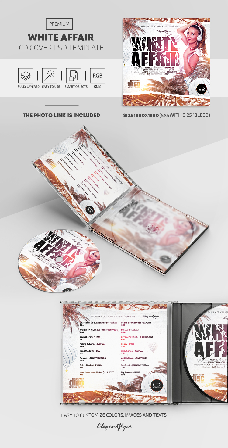 White Affair – Premium CD Cover PSD Template