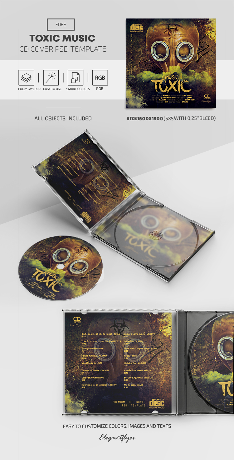 Toxic Music – Free CD Cover PSD Template