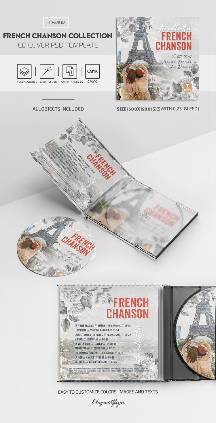 French Chanson Collection – Premium CD Cover PSD Template