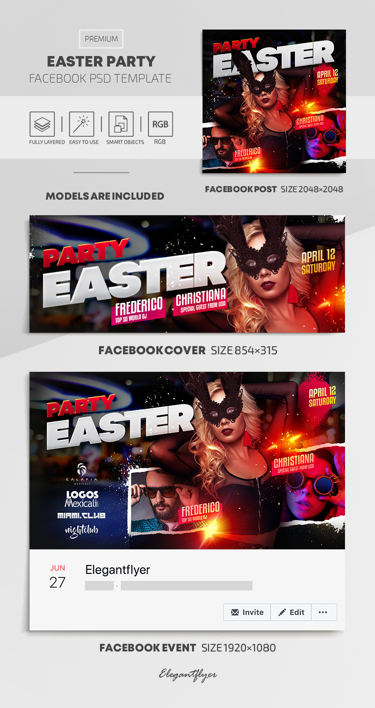 Easter Party – Facebook Cover Template in PSD + Post + Event cover