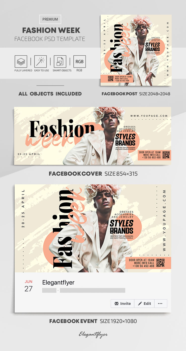 Fashion Week – Facebook Cover Template in PSD + Post + Event cover