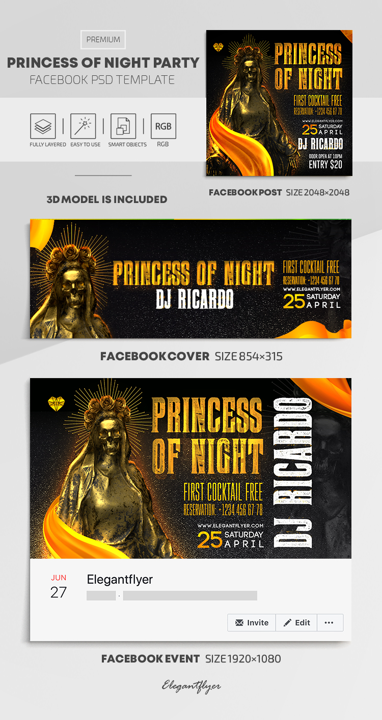 Princess Of The Night – Facebook Cover Template in PSD + Post + Event cover