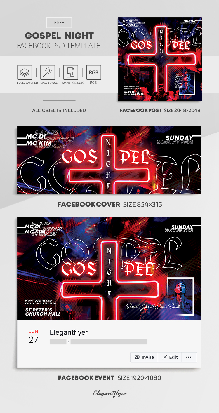 Gospel Night – Free Facebook Cover Template in PSD + Post + Event cover