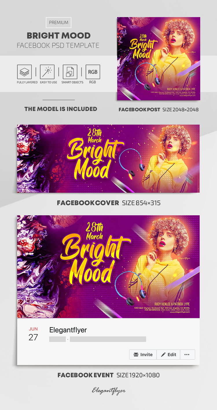 Bright Mood – Facebook Cover Template in PSD + Post + Event cover