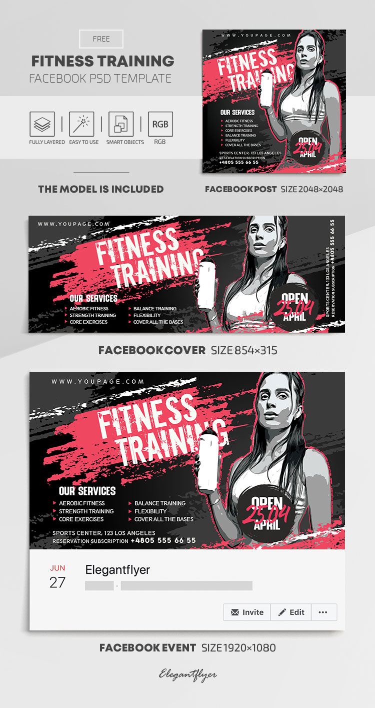 Fitness Training – Free Facebook Cover Template in PSD + Post + Event cover