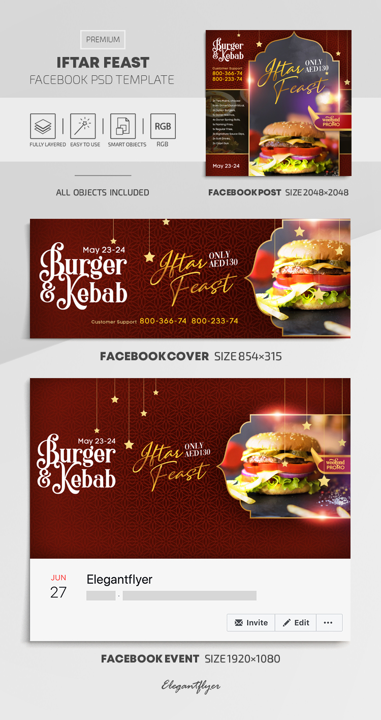 Iftar Feast – Facebook Cover Template in PSD + Post + Event cover