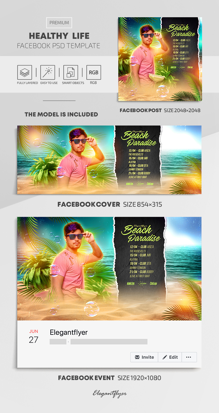 Beach Paradise – Facebook Cover Template in PSD + Post + Event cover