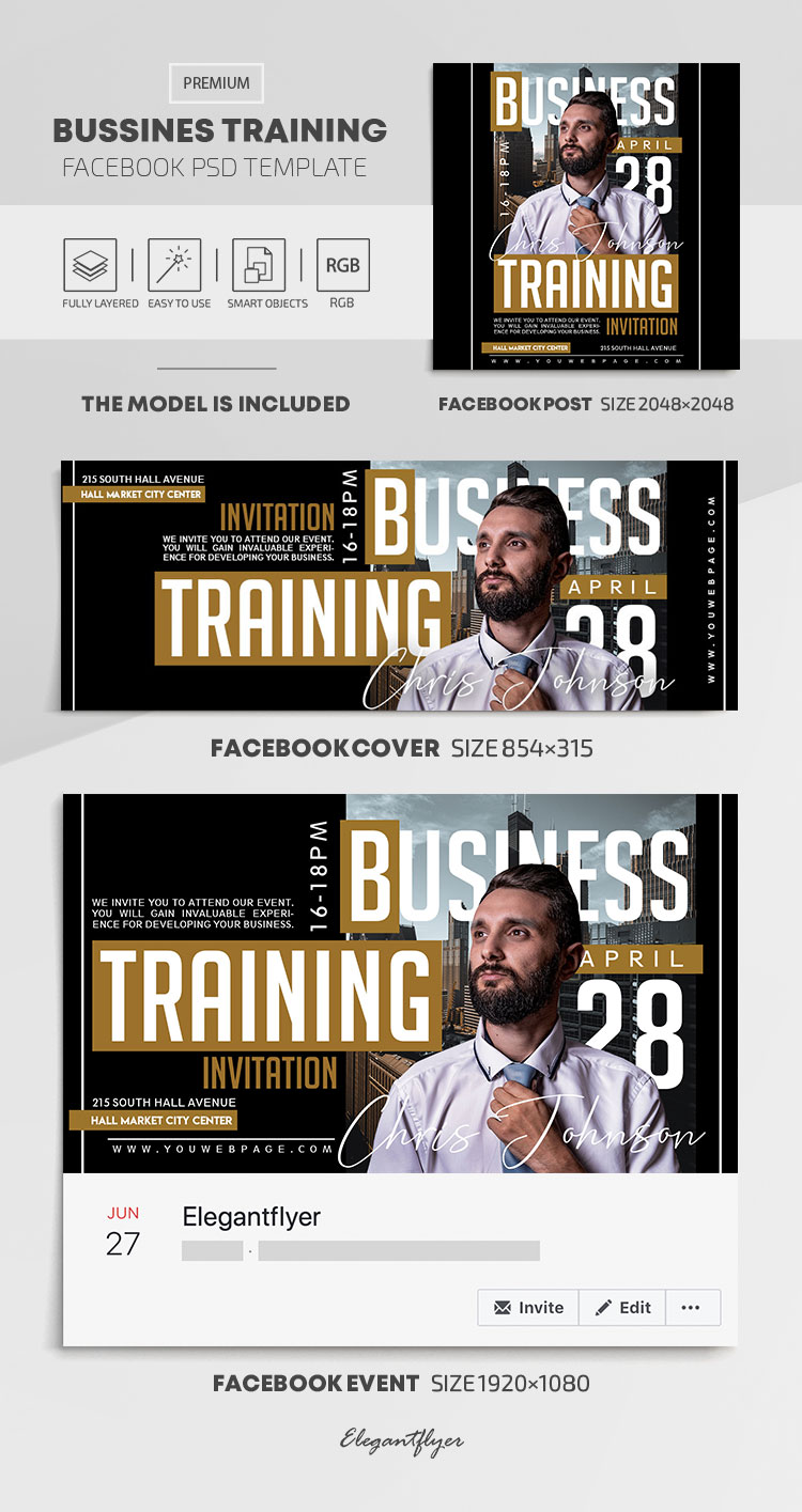 Business Training – Facebook Cover Template in PSD + Post + Event cover